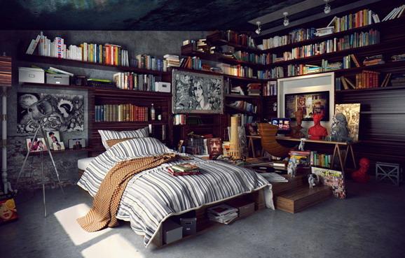 kamar rumah modern minimalis dengan rak buku