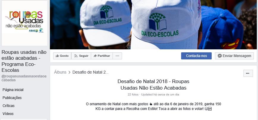 477c2332a1f ... 2018 - Roupas Usadas Não Estão Acabadas. O Clube Eco Escolas do nosso  Agrupamento de Escolas participou no Desafio de Natal da ABAE e precisa que  todos ...