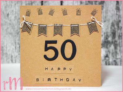 Stampin' Up! rosa Mädchen Kulmbach: Geburtstagskarte in craft und schwarz zum 50. mit Fähnchen