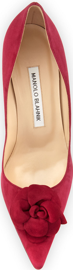 Manolo Blahnik Camelia Suede 70mm Pump, Raspberry
