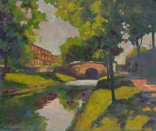 Plein air landscape alla prima painting of Dublin's Huband Bridge seen from the east.