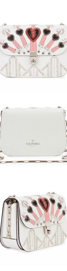 Valentino Love Blade Embroidered Shoulder Bag, White/Multi