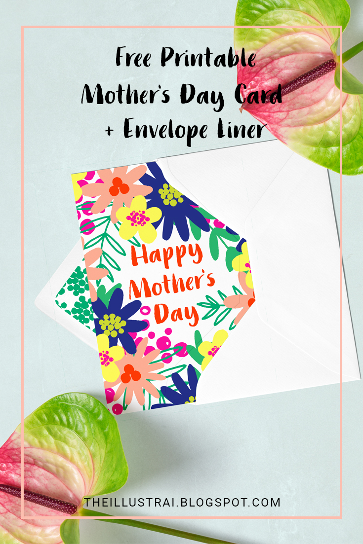 Download this free printable Mother's Day Card and envelope liner in pretty and vibrant tropical patterns.