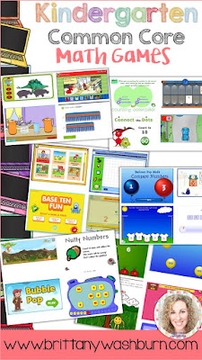 The other day I was looking for math activities for kindergarten that align to the common core standards. Now I'm sharing them with you because I think you will find them to be really helpful. All 26 games are included in my Kindergarten Technology Lesson Plans and Activities.