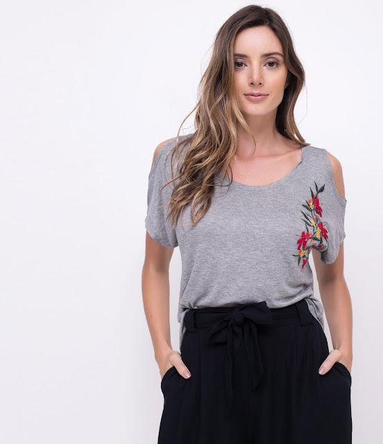 Moda Blusa com Bordado Floral