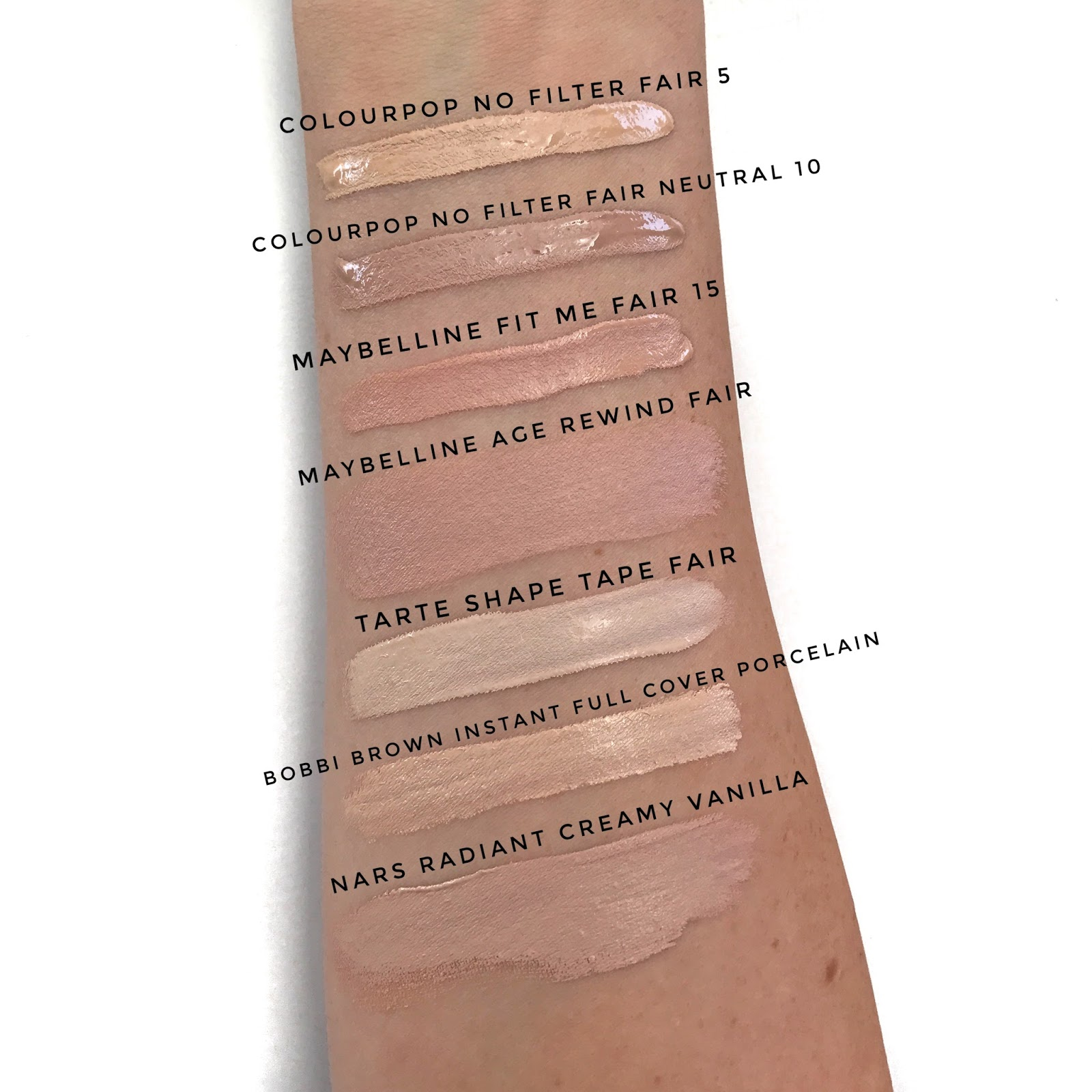 colourpop no filter cocnealer fair swatches review