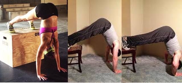 Flexiones de brazo parado de cabeza para principiantes