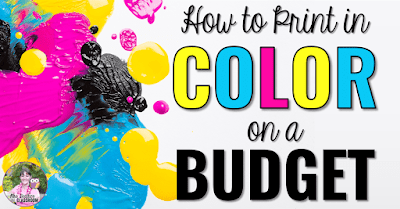 "Ink splotches with text, ""How to print in color on a budget."""