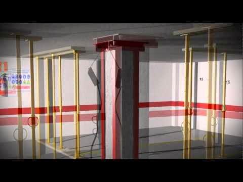 Refuerzo de pilar de hormigón con perfiles metálicos empresillados