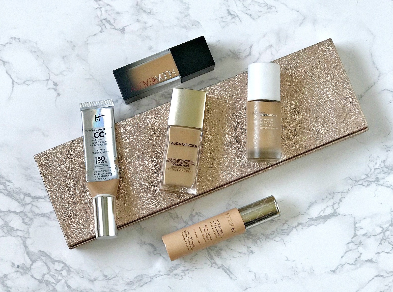 Natasha Denona Foundation X, IT Cosmetics CC Cream Review, Huda Beauty #Faux Filter Foundation review, By Terry Terrybly Densiliss Foundation Review, Laura Mercier Flawless Lumiere Radiance Perfecting Foundation Review