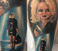 tatuaje para halloween chucky y su novia