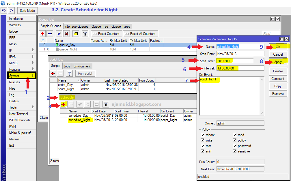 How to create Day/Night package in Mikrotik queue | Abu Juha