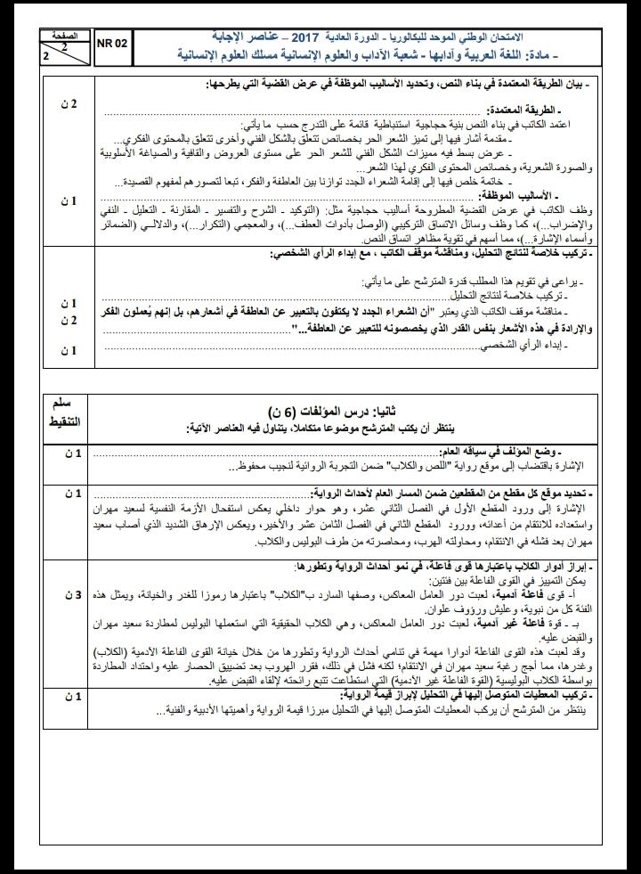 الامتحان الوطني الموحد للباكالوريا، مادة اللغة العربية مسلك العلوم الإنسانية / الدورة العادية 2017