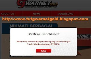 Solusi Reset Password G-Warnet Salah Sebanyak 5 Kali