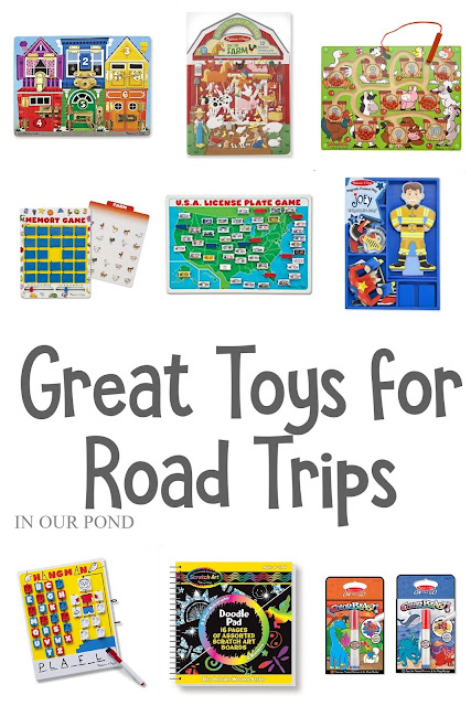 Great Toys for Road Trips and Travel // Party Through the USA // Melissa and Doug toys // travel toys // airplane toys // hospital stays // kids christmas lists