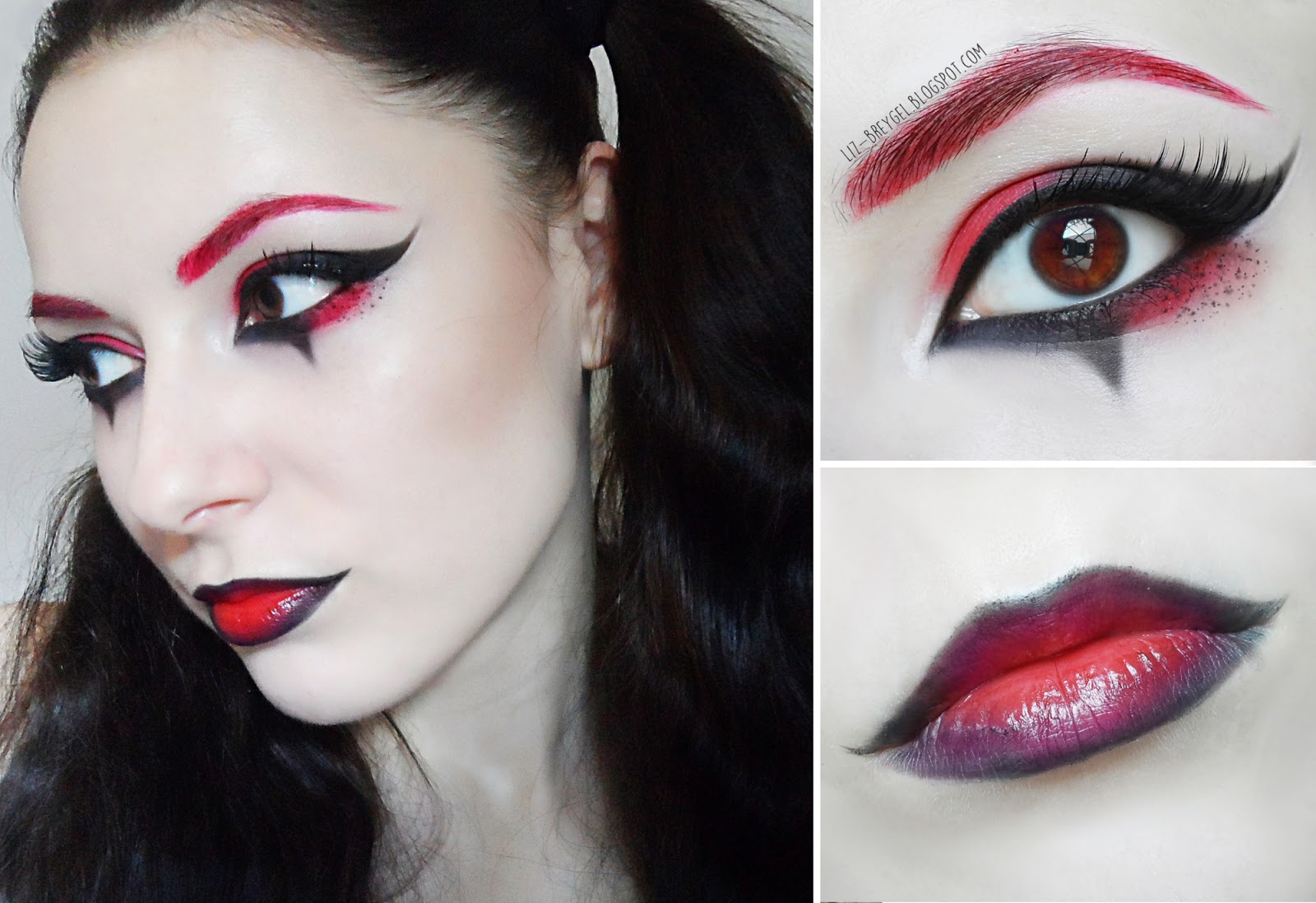 red and black makeup tutorial red eyebrown harley quinn arlequin makeup tutorial blogger pictures joker makeup liz breygel