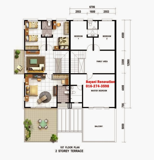 Sample Plan Rumah Teres Modern