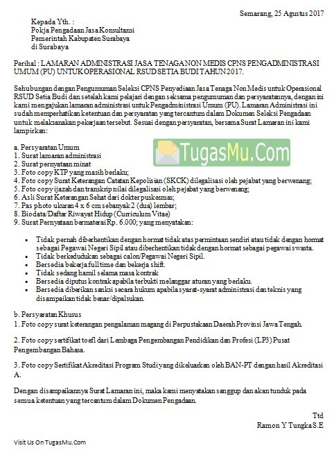 Contoh Surat Lamaran Kerja CPNS Departemen Kesehatan Pemda Bidan Terbaru Tulisan Tangan