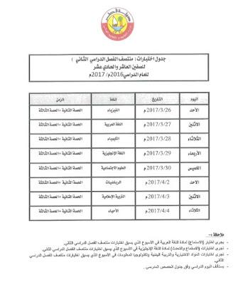 جدول اختبارات الفصل الدراسي الثاني لجميع الصفوف 2016-2017