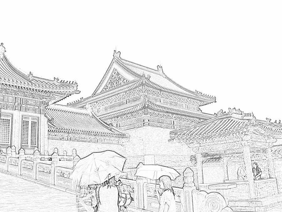 Stock Pictures Chinese style architecture sketches of the Forbidden