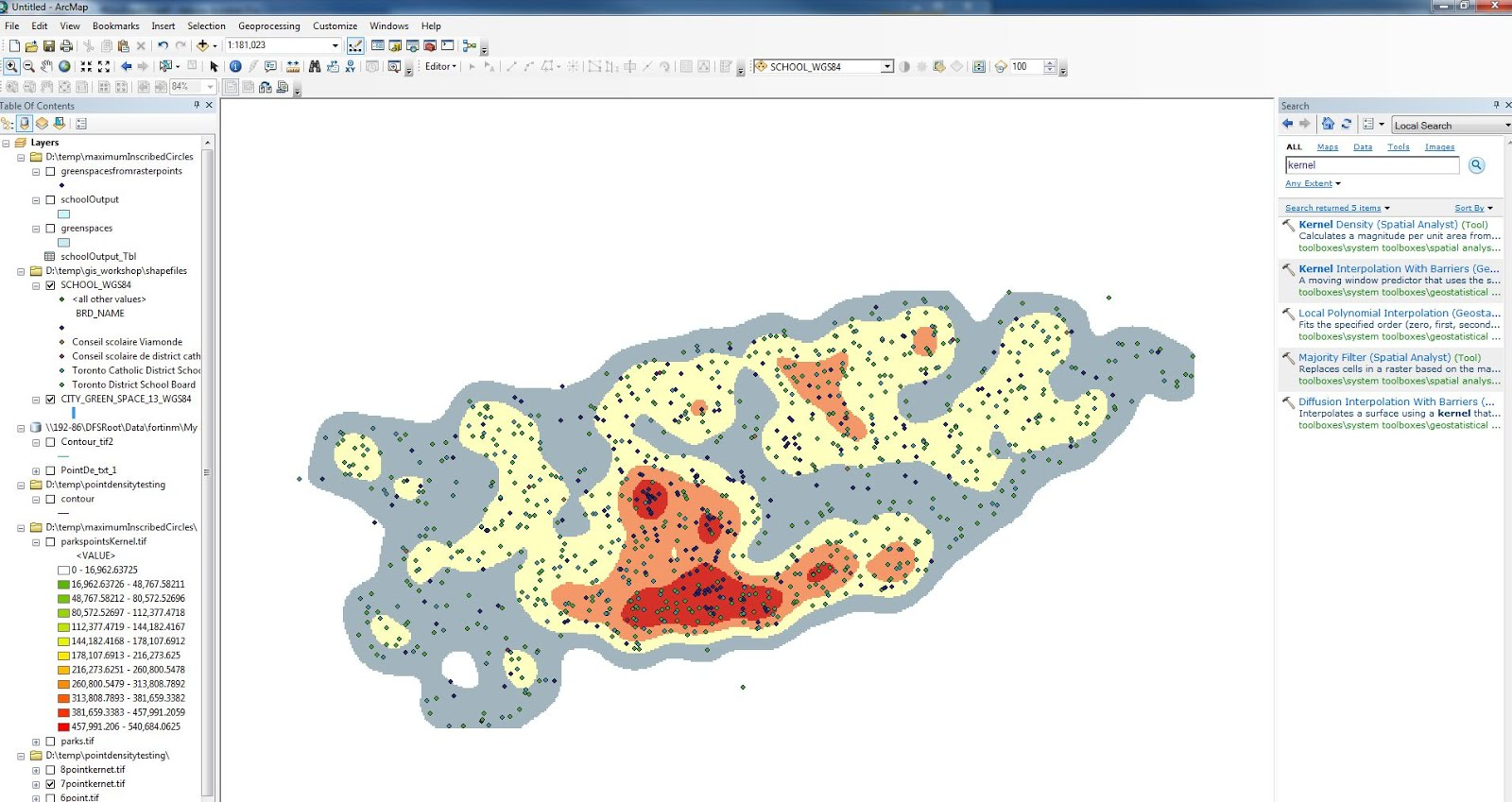 Map and Data Library, University of Toronto: ArcMap Kernel