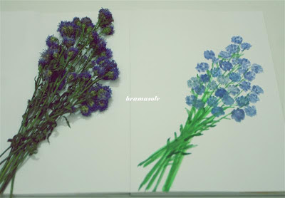 membuat bunga dengan cat air