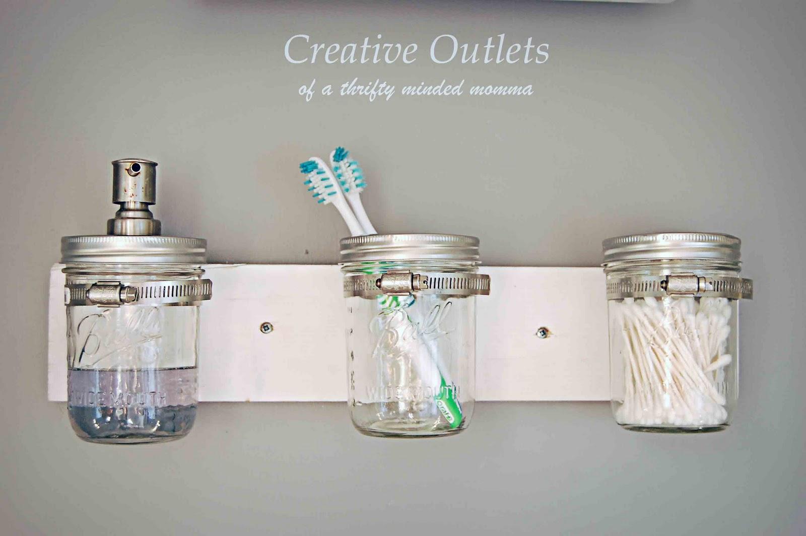 Creative outlets of a thrifty minded momma mason jar for Bathroom jar ideas