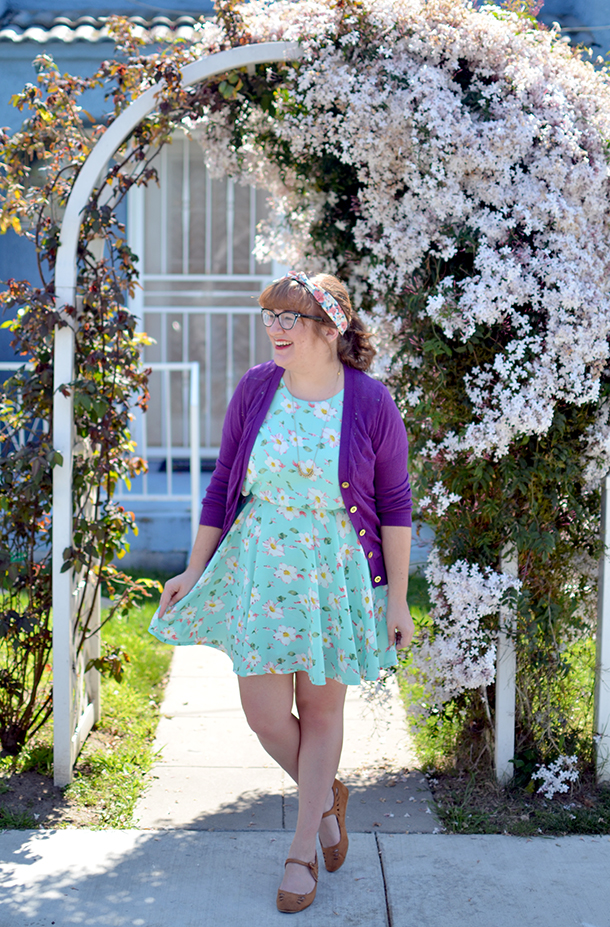 Mint floral Kling dress from Poshmark paired with a purple Madewell cardigan