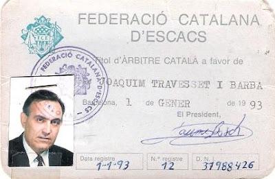 Credencial de Joaquim Travesset Barba como árbitro de la Federación Catalana de Ajedrez