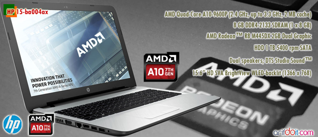 "HP 15-ba004ax "" Notebook Prosesor AMD Pertama Support RAM DDR4 """