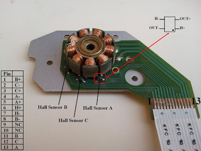 CD-ROM sensored brushless DC motor pin configuration