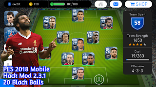 PES 2018 Mobile 2.3.1 Hack Mod 20 Ball Mod