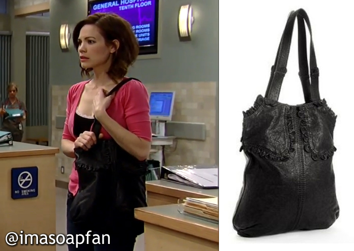 e894f3a0b32ef0 Elizabeth Webber s Black Ruffled Tote Bag - General Hospital