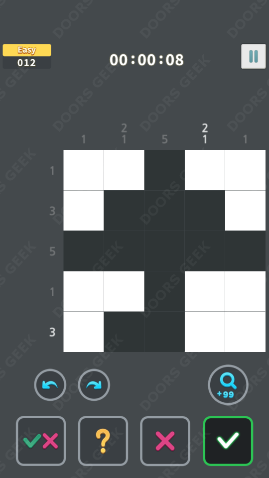 Nonogram King Easy Level 12 Solution, Cheats, Walkthrough for Android, iPhone, iPad and iPod