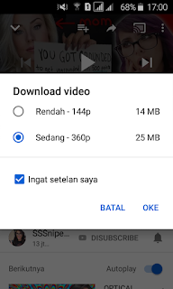 Menu format video youtube