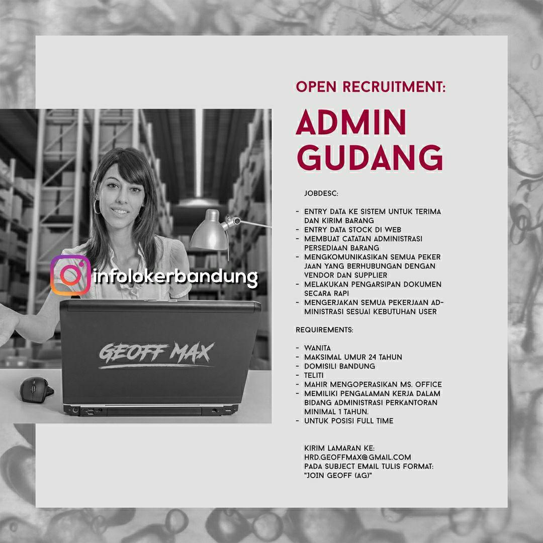 Lowongan Kerja Admin Gudang Geoff Max Bandung September 2017