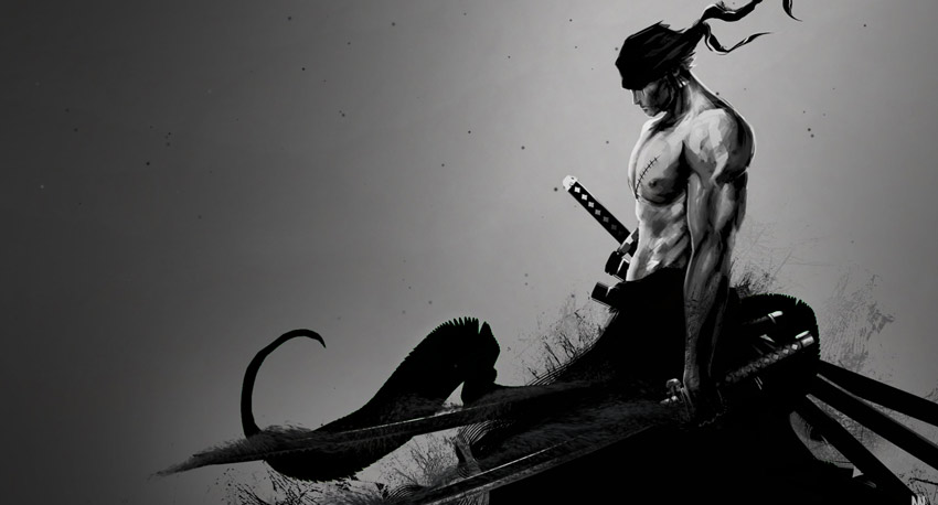 One Piece Zoro Black And White Wallpaper Engine Download