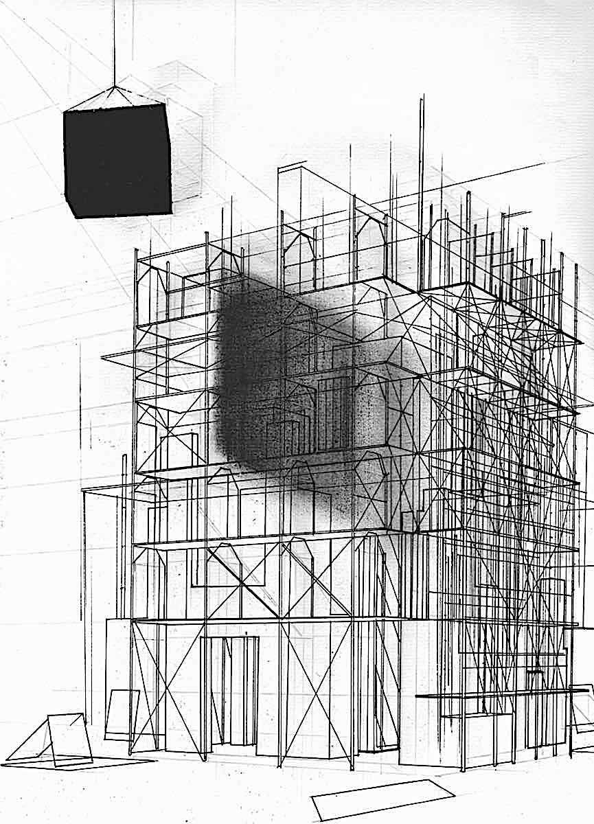 Victor Timofeev architecture in art, a black cube casts a shadow