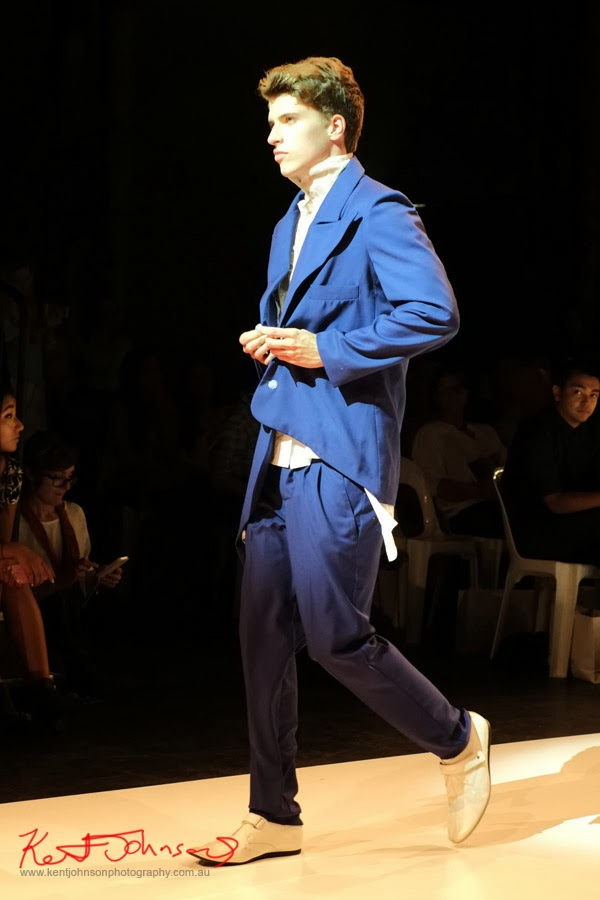 Skye Hay,  mens blue suit, New Byzantium : Raffles Graduate Fashion Parade 2013 - Photography by Kent Johnson.
