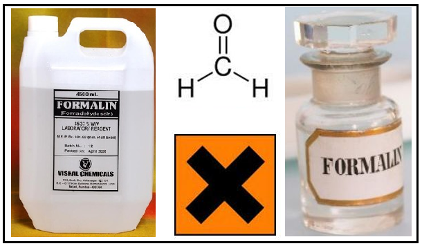 Formalin adalah nama dagang larutan formaldehida  Penggunaan, Bahaya, Pencegahan dan Pengujian Formalin