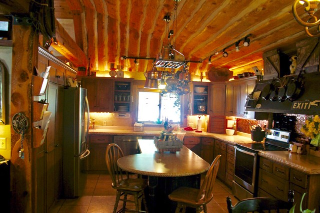 Old World style post and beam cabin kitchen