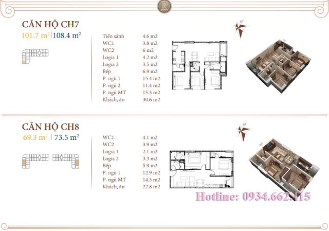 Loại hình căn hộ 07-08 tòa B1 Roman Plaza