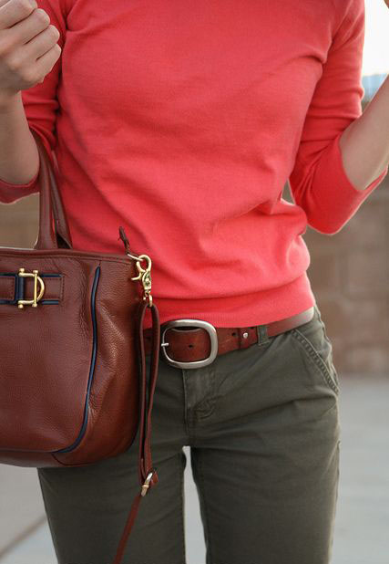Olive & Coral outfit combo