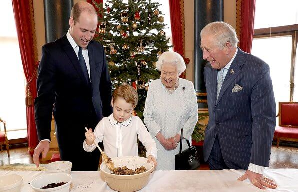 Queen Elizabeth met with The Prince of Wales, The Duke of Cambridge and Prince George at Buckingham Palace