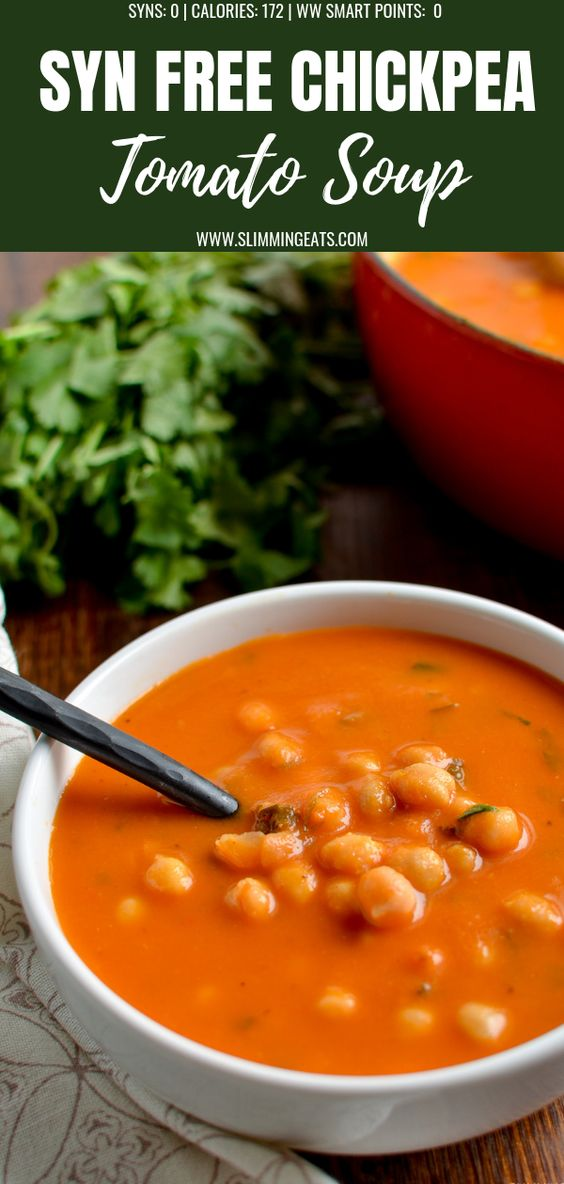 A delicious and Easy Syn Free Chickpea and Tomato Soup - that the entire family will enjoy. | #glutenfree #chickpeas #soup #tomatoes #slimmingworld #weightwatchers #synfree #vegan #dairyfree