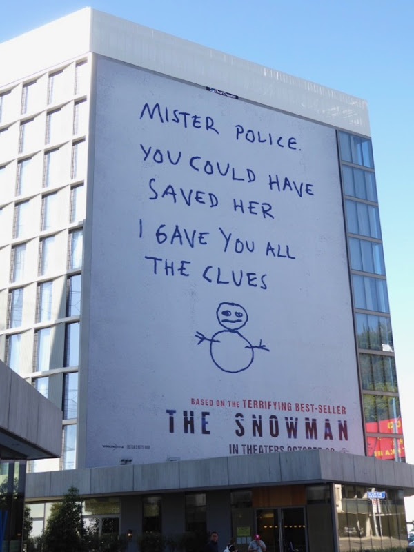 Snowman giant movie billboard
