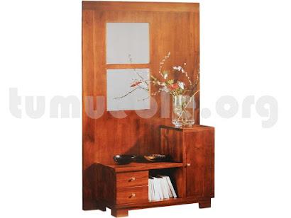 mueble recibidor con cajones y puerta en teca 4133