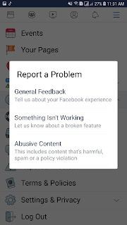 اختر تصنيف المشكلة التى تواجهة فى تطبيق فيسبوك لكى يتم اصلاحها فوراً