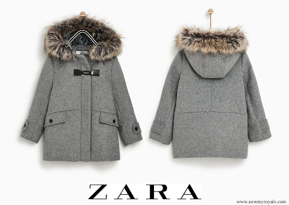 Princess Athena wore ZARA faux fur hooded duffle coat