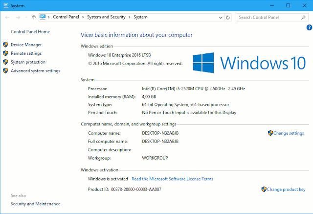 Contoh gambar jendela System pada Windows 10 yang digunakan untuk melihat status aktivasi